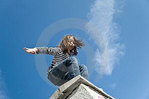 Little Girl Preparing To A Big Jump Stock Images - Image: 14935024