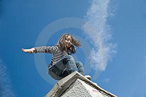Little Girl Preparing To A Big Jump Royalty Free Stock Photo - Image: 14935045