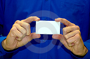 Blank Business Card Against Blue Shirt Royalty Free Stock Image - Image: 14935166