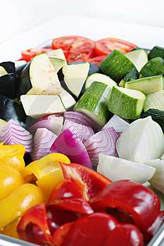 Peppers Eggplant Onions & Zucchini On White Stock Photo - Image: 14935260