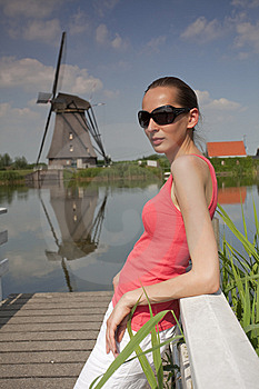 Woman On Wooden Pier Stock Images - Image: 14937314