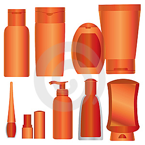 Vector Set Of Bright Orange Cosmetics Packages Royalty Free Stock Image - Image: 14938966