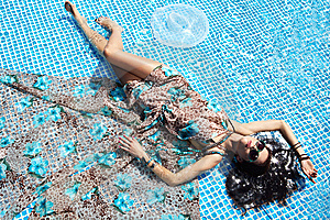Young Woman At A Pool Royalty Free Stock Photography - Image: 14940427