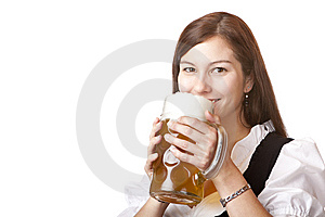 Woman In Dirndl Cloth Holds Oktoberfest Beer Stein Stock Photo - Image: 14940690
