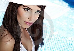 Young Woman At A Pool Royalty Free Stock Photo - Image: 14941105