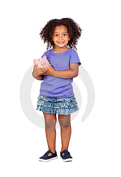 Adorable African Little Girl With Piggy-bank Royalty Free Stock Photography - Image: 14943317