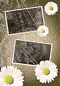 Vintage Photo Frames Over Sack Background Stock Photography - Image: 14944882