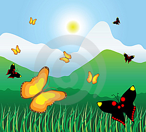 Motley Butterflies Fly On A Mountain Meadow Royalty Free Stock Photo - Image: 14944935