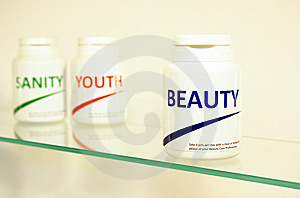 Sanity, Beauty And Youth Pills In A Bottle Stock Image - Image: 14944961