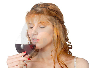 Woman Drinking Red Wine Stock Image - Image: 14946641