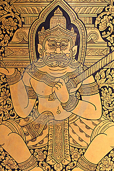 Traditional Thai Art On A Window Shutter Stock Image - Image: 14946721