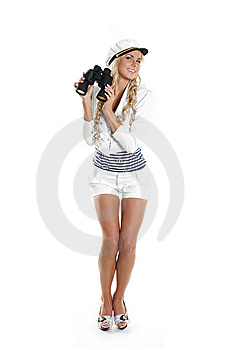 Image Of A Young Sailor Girl Holding Binoculars Royalty Free Stock Images - Image: 14952769