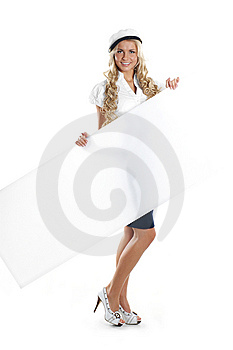 Image Of A Young Sailor Girl Holding A Poster Stock Image - Image: 14952931