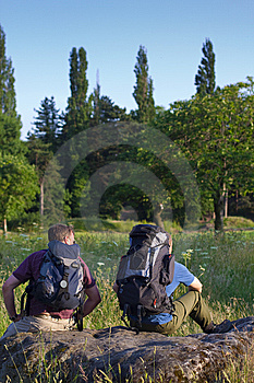 Backpackers In Sunny Field Royalty Free Stock Images - Image: 14955389