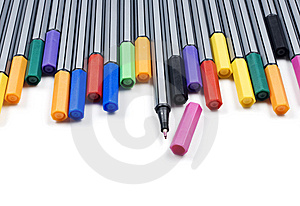 Colourful Pens On A White Background Stock Photo - Image: 14955560