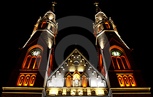 Neogothic Church At Night Stock Photography - Image: 14955972