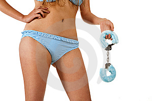 Pretty Girl Holding Handcuffs Royalty Free Stock Photo - Image: 14959105