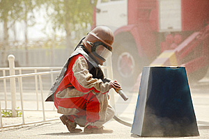 Worker In A Protective Suit Spraying Sand Royalty Free Stock Photography - Image: 14959177