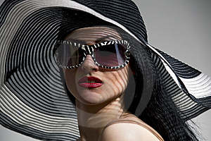 Model In Striped Hat Stock Photo - Image: 14959190