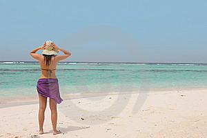 Woman On A Tropical Beach Stock Photography - Image: 14961062