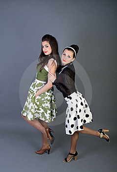 Two  Happy Retro-styled Girls Royalty Free Stock Image - Image: 14967626