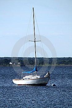 Moored White Sailboat Royalty Free Stock Photo - Image: 14969275