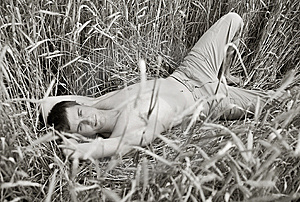 A Man Lie In Field Of Wheat Stock Image - Image: 14972801