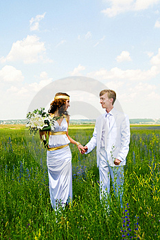 Just Married Couple On Field Royalty Free Stock Image - Image: 14972996