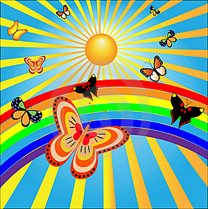 Butterflies Rejoice To The Sun And A Rainbow Royalty Free Stock Images - Image: 14973019