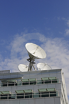 Satellite Dishes On A Roof Royalty Free Stock Photography - Image: 14973057