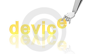 Robotic Hand With Word Device Stock Image - Image: 14973301