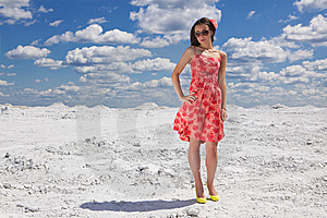 Cute Young Woman In Red Dress On The Snow Royalty Free Stock Photos - Image: 14975388