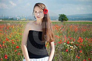 Girl In Poppies Royalty Free Stock Images - Image: 14975769