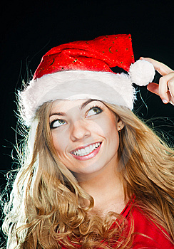 Young Pretty Girl In Santa Hat Royalty Free Stock Photo - Image: 14977005