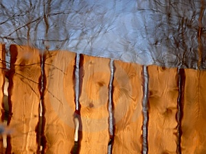 Reflexion. A Wooden Fence. Stock Photo - Image: 14978320