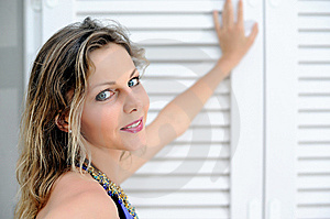 Portrait Of Summer Sunny Girl Near White Window Royalty Free Stock Photography - Image: 14981677