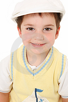 Adorable American Boy In Hat Over White Royalty Free Stock Photography - Image: 14983297