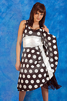 Girl In Polka-dot Dress Stock Images - Image: 14984674