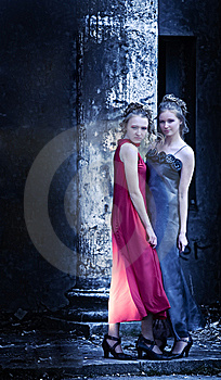 Two Ladies At The Classical Column Stock Images - Image: 14984754