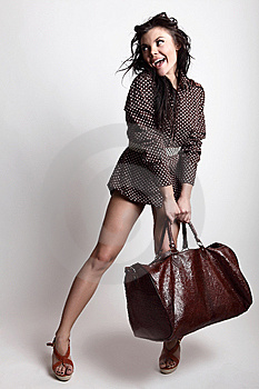 Young Attractive Sexy Girl Posing With Bag Stock Photo - Image: 14986120