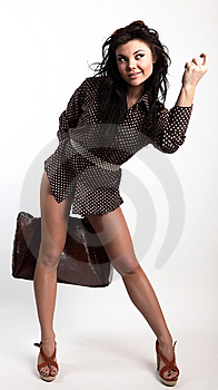Young Attractive Sexy Girl Posing With Bag Royalty Free Stock Photo - Image: 14986135