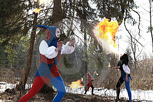Group Of Retro Fire-eater Showing Fire-show Stock Photography - Image: 14986322
