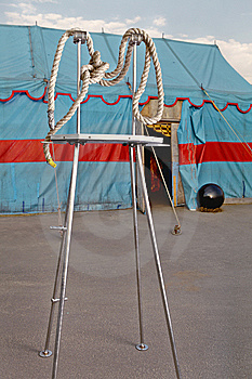 Circus Symbolism. A Wattled Rope On A Metal Stage Stock Photos - Image: 14986813