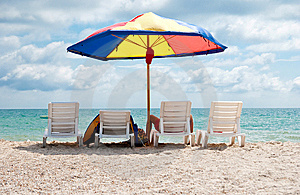 Four Deck Chairs Royalty Free Stock Image - Image: 14986976