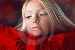 Attractive Blond Beauty In Red Theatrical Jabot Royalty Free Stock Photos - Image: 14987258