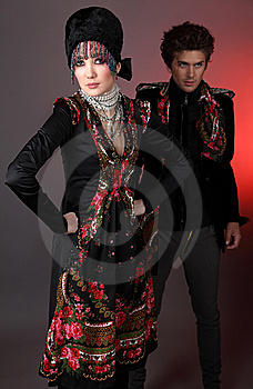 Pair Models In Exclusive Design Clothes Stock Images - Image: 14988374