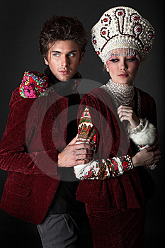 Pair Models In Exclusive Design Clothes Stock Photography - Image: 14989432