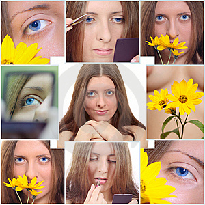 Collage From Portraits Of The Nice Girl Stock Images - Image: 14992794