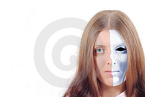 Pretty Girl With A Split Blue Mask On His Face Stock Image - Image: 14992881