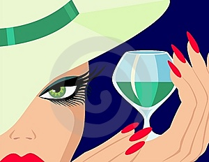 Lady With A Glass Of Liqueur Stock Images - Image: 14993024